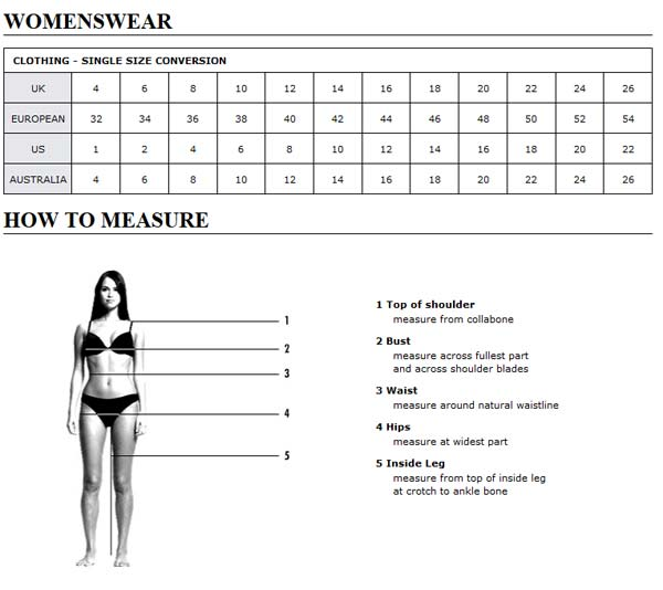 Asos Womens Clothing sizing chart